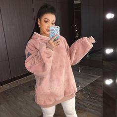Warm Women Oversize Hoodies Sweatshirts Solid Color Fleece Long Sleeve Loose Pullover