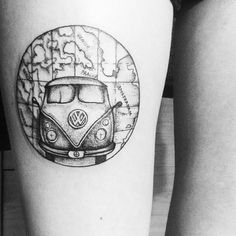 Pin for Later: These 61 Map Tattoos Will Give You Major Wanderlust Road Trip VW Van Map