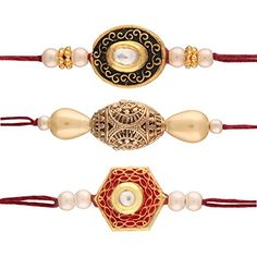 OFF-Aheli Pack of 3 Religious Gold Plated Pearl Kundan Rakhi for Men Boys Rakshabandhan Rakhi Bracelet, Handmade Rakhi, Rakhi Design, Anklets, Designer Wear, Plating, Crochet Necklace, Beaded Bracelets, Jewels