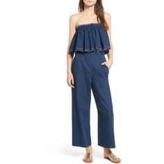 Women's J.o.a. Strapless Crop Denim Jumpsuit ($99) ❤ liked on Polyvore featuring jumpsuits, denim blue, blue jumpsuit, jump suit, cropped jumpsuit, retro jumpsuit and strapless jumpsuit
