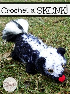 Crochet A Skunk free crochet pattern by Stitch11. It's a friendly and hugable skunk to entertain young children.