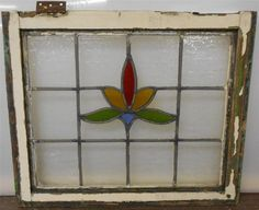 """OLD ENGLISH LEADED STAINED GLASS WINDOW Simple Floral design 21.75"""" x 18.25"""""""