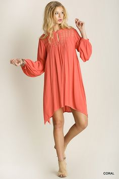 This is a pre- order to ship the first part of April! A line peasant dress with side slits and lace detail! Sizes: Small, Medium and Large! #khakicotton #spring #coral #aline #dress #preorder | Shop this product here: spreesy.com/khakicottonfashions/256 | Shop all of our products at http://spreesy.com/khakicottonfashions    | Pinterest selling powered by Spreesy.com