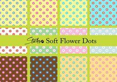 Soft Flower Polka Dot Patterns