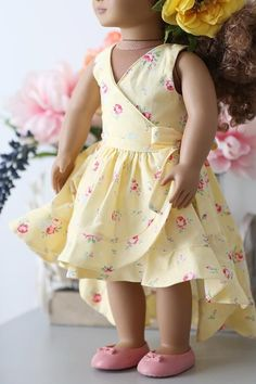 Elianna Doll Dress pattern to buy - May 25 2019 at Baby Girl Frocks, Frocks For Girls, Little Girl Dresses, American Girl Outfits, Girls Frock Design, Baby Dress Design, Frock Patterns, Doll Dress Patterns, Sewing Patterns