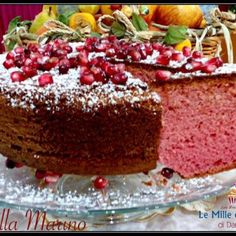 TORTA AL MELOGRANO SOFFICISSIMA Torte Cake, Chiffon Cake, Antipasto, Meatloaf, Biscotti, Food Inspiration, Frosting, Sweet Tooth, Bakery