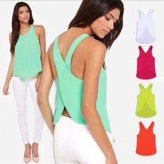 Free Shipping 2014 Spring Summer Women Blouses Candy Color Casual Lady Shirts Sexy Backless Strap Chiffon Blouse Tops XXXL 6336 US $8.85