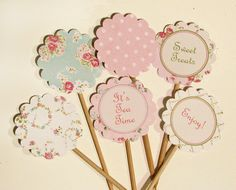 Vintage Party Printable Cupcake Toppers by WhenIWasYourAge on Etsy, $5.00