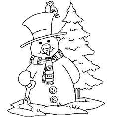 Dessin Bonhomme de neige Noël a colorier