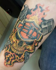 #Harley #Davidson #skull #tattoo #ink Client wanted to a non typical Harley shield.
