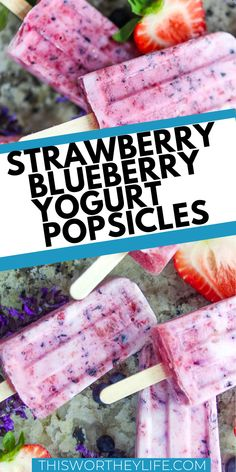 With yogurt, fresh produce, and three other ingredients, you can put together our Strawberry + Blueberry Yogurt Popsicles in no time. Homemade Popsicles Healthy, Homemade Frozen Yogurt, Healthy Popsicle Recipes, Ice Pop Recipes, Frozen Yogurt Recipes, Homemade Ice, Cream Recipes, Healthy Recipes, Blueberry Yogurt Popsicles