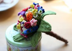 Crocheted wedding bouquet.