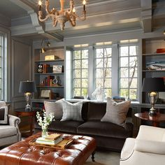 brown leather sofa with gray walls - Google Search