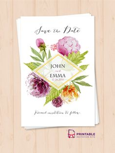 Watercolor Wedding Flowers Save the Date Template