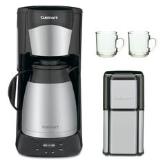 Cuisinart DTC975BKN 12 Cup Programable Thermal Coffeemaker Black   Grind Central Coffee Grinder Refurb   2-Piece 10 oz. ARC Handy Glass Coffee Mug Classic design with stainless accents - Automatically shuts off. Easy-to-see water level indicator - Instruction Book. Fully automatic with 24-hour programmability. 12 (5 oz.) cup double-wall insulated stainless steel carafe. Patented Brew.