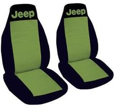One front set of seat covers. Black and lime green Jeep seat covers. Lime Green Jeep, Blue Jeep, Jeep Seat Covers, Golf Cart Seat Covers, 1997 Jeep Wrangler, Jeep Accessories, Wrangler Accessories, Thing 1, Word Design