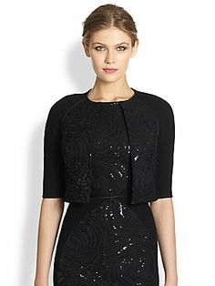 Carmen Marc Valvo Embellished Double-Face Bolero