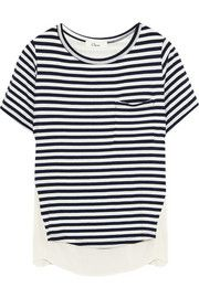 CLUStriped stretch-jersey and crepe T-shirt