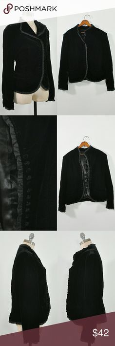 """⚡FLASH-SALE⚡Black Velvet Jacket Black Blazer Amazing black velvet jacket with 14 buttons front closure, statin ruffled trim everywhere, 2 front pockets, long sleeves, arms eye darts, mandarin collar, fully lined.  -MEASUREMENTS- Fits Like: s/m Length: 24.5"""" Shoulders: 18"""" Sleeve Length: 24.5"""" Chest: 40"""" Waist: 35"""" Hem: 40"""" # Buttons: 14  BRAND: n/a CONDITION: excellent preowned condition, worn once Jackets & Coats"""