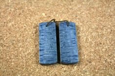 Blue Sponge Coral Rectangle Earring Pair - Smooth Natural Stone Pair, 1 pair