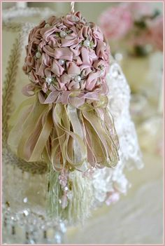 Gorgeous Vintage Ribbon Flower Tassel would make a good hair cover/ornament Floral Ribbon, Ribbon Art, Ribbon Crafts, Ribbon Flower, Rose Embroidery, Silk Ribbon Embroidery, Leather Embroidery, Embroidery Thread, Shabby Chic Crafts