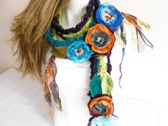 Gypsy Scarf Boho Scarf Gypsy Crochet Scarf by Nazcolleccolors