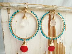 Turquoise Red Coral Hoops, Boho Turquoise Earrings, Bollywood Earrings, Gold Hammered Moonstone Hoops:  Chabeela. $63.00, via Etsy.