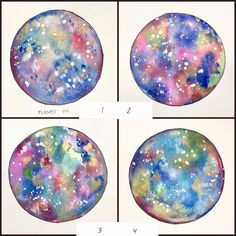 Moon watercolor, planets, nursery art, abstract