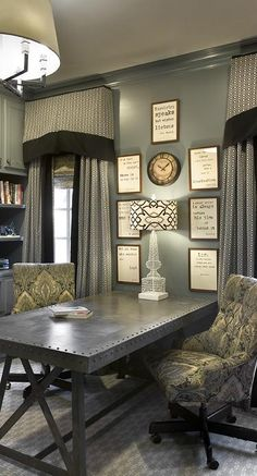 A very elegant home office with very rich style furnishings. #homeoffice