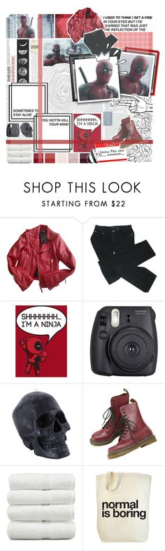 """""""And as i am standing in the gallows i will be staring at the sky, because no matter where they take me in death i will survive and i will never be forgotten, with you by my side. // Deadpool // Wade Wilson // Marvel"""" by saffire9975 ❤ liked on Polyvore featuring Balenciaga, Marc by Marc Jacobs, Old Navy, Fuji, Tag, Linum Home Textiles, marvel, deadpool and Saffire9975"""