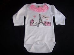 Items similar to Infant Appliqued Onsie Paris Couture Fashion Children Baby Clothes OOAK Roses Trimmed High Fashion Wee Onsie on Etsy Paris Baby Shower, Welcome Baby, Couture Fashion, Baby Baby, Infant, Applique, Trending Outfits, Handmade Gifts, Kids