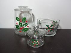 Vintage Indiana Glass Holiday/Christmas Holly Print Clear Glass Apothecary Jars/Canisters & Snack Bowl - Set of 3 by DaysLongGoneSalvage on Etsy