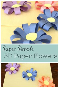 Paper Flowers Pretty paper flowers for kids to make! Such a simple and colorful spring craft!Pretty paper flowers for kids to make! Such a simple and colorful spring craft! Crafts For Teens To Make, Spring Crafts For Kids, Paper Crafts For Kids, Projects For Kids, Craft Projects, Diy Crafts, Craft Ideas, Simple Paper Crafts, Spring Crafts For Preschoolers