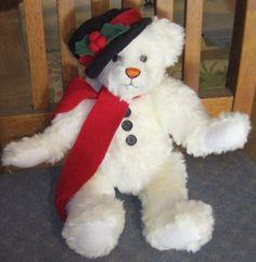 "14"" 1998 GANZ Cottage Collectibles SUE COE White HOLIDAY Christmas BEAR 25 #GANZ"