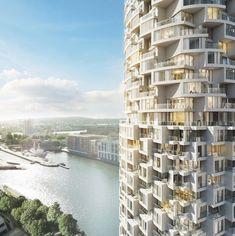 Imagen 1 de 7 de la galería de Aprueban construcción de futuro plan maestro de 30 rascacielos en Londres. Herzog & de Meuron's Residential Tower. Imagen cortesía de Canary Wharf Group plc