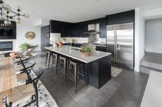 Modern Kitchen with Stainless Steel, L-shaped, Safavieh MOR553A Moroccan Ivory and Black Area Rug, Flush, Limestone