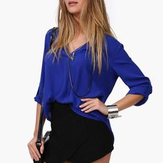 New Women Chiffon Blouse V-neck Long Sleeve Casual Female Tops Temperament Solid Shirts Plus Size