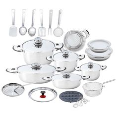 Chef's Secret® 33pc Heavy-Gauge Stainless Steel Cookware Set with Large Pans Price: $186.13 List Price: $710.95 Savings: 73.8%