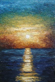 impasto expressionism oil painting of Caribbean Sunset - Madrugada by Arnisto, via Flickr