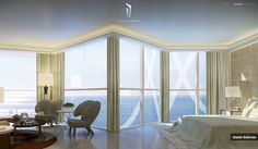 Master Bedroom With Ocean Views And Sitting Area