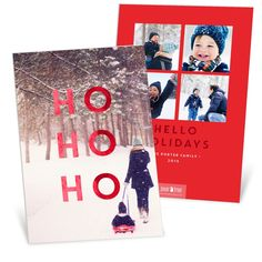 """""""Ho Ho Ho!"""" This card is one-of-a-kind! It's printed on double thick paper and has real foil on both sides—super fancy! #ChristmasCards #PremiumCards #Holiday"""