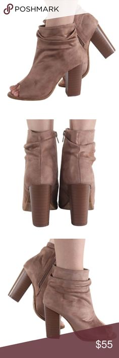 Suede Peep Toe Booties Super Cute Suede Peep Toe Booties! These booties can go with any outfit. They are perfect to wear to the office with your favorite business attire or worn with a pair of jeans to you regular happy hour spot. Shoes Ankle Boots & Booties