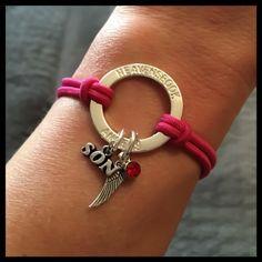 48181eb3479 In memory of Son Wing Birthstone Halo Memorial Bracelet Sympathy Gift