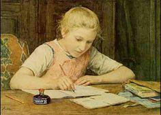 """""""Schoolgirl"""". Albert Anker (1831-1910), Swiss genre painter."""