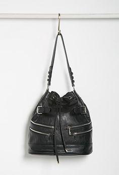 Zippered Bucket Shoulder Bag