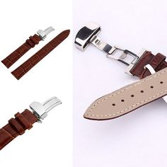 New Arrival 18-24mm Watch Band Strap Butterfly Pattern Deployant Clasp Buckle+ Leather 0608