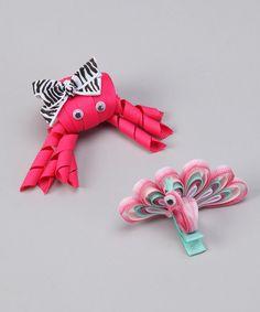 Hot Pink Crab & Peacock Clip Set