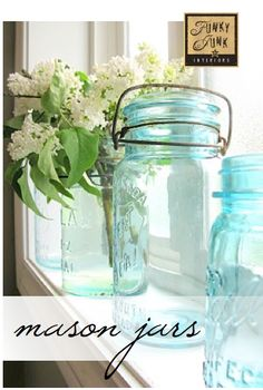 MASON JAR decorating ideas - themed link party attached via Funky Junk Interiors I just bought 7 mason jars today at a garage sale for 10 cents a piece so I'm itching to do something with them! Blue Mason Jars, Bottles And Jars, Glass Jars, Milk Glass, Window Sill Decor, Kitchen Window Sill, Funky Junk Interiors, Casa Hotel, Funky Decor