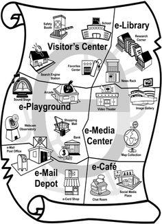 TECHNOJOURNEY: Explore sites on the Internet. Travel to the Visitor's Center, e-Library, e-Media Center, e-Playground, e-Mail Depot, or e-Café.