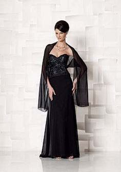Black Chiffon A line Sweetheart Floor Length Mother of the Bride Dress With A Shawl - 1300106017B - US$149.99 - BellasDress
